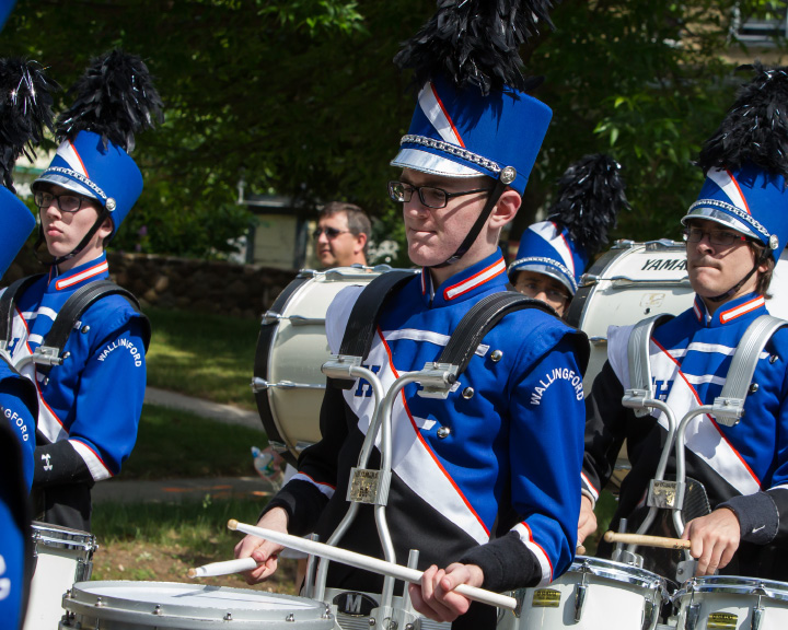 Lyman Hall marching band Monday during the Memorial Day Parade in Wallingford May. 25, 2015 | Justin Weekes / For the Record-Journal