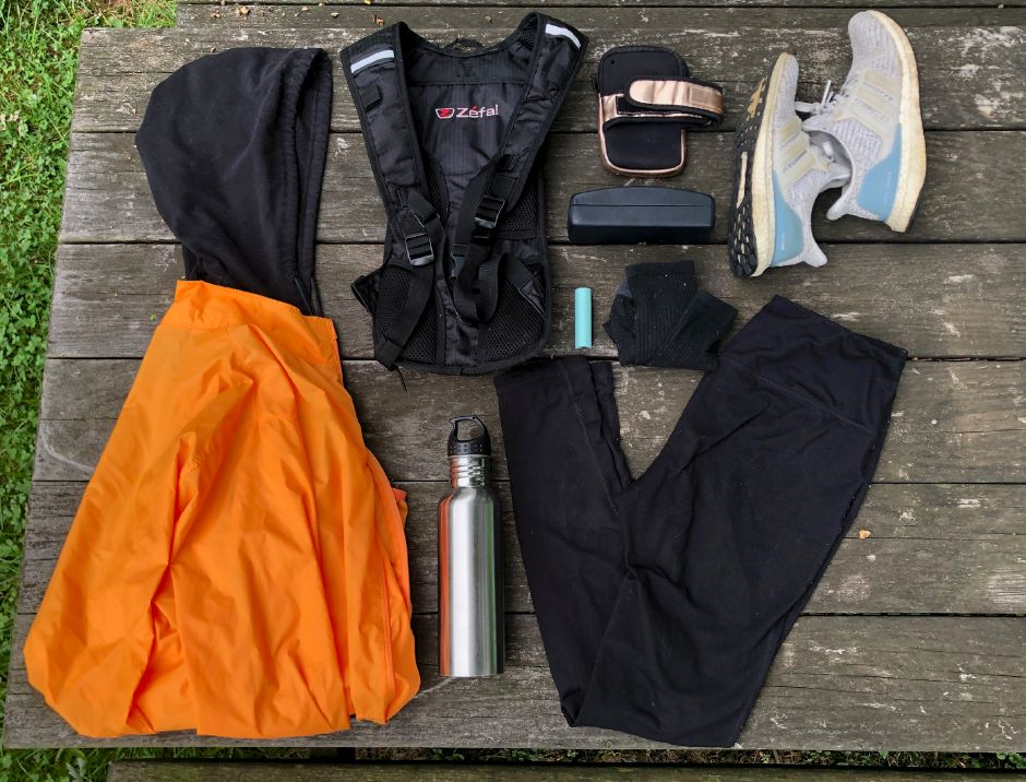 Kristen Dearborn shows gear needed to train for a road race during the fall. | Kristen Dearborn, special to the Record-Journal
