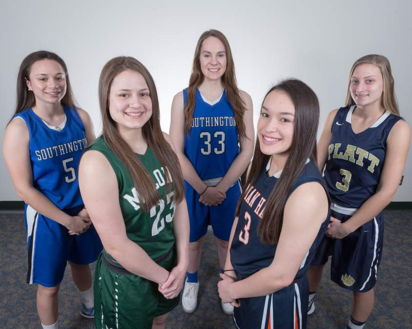 Introducing the 2017 All-Record-Journal Girls Basketball Team (left to right): Maggie Meehan of Southington, Melanie Polanco of Maloney, Janette Wadolowski of Southington, Kailey Lipka of Lyman Hall and Tamra Gonyea of Platt. | Justin Weekes / For the Record-Journal