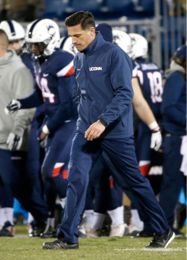 FILE - In this Nov. 26 2016, file photo, Connecticut head coach Bob Diaco reacts after a 38-13 loss to Tulane in an NCAA college football game in East Hartford, Conn. UConn athletic director David Benedict announced Monday, Dec. 26, 2016, that head football coach Bob Diaco has been relieved of his coaching duties, effective Jan. 2.  (AP Photo/Mary Schwalm, File)