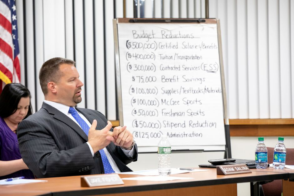 Berlin Board of Education member Adam Salina speaks at an April 15 meeting. The board is looking at eliminating some athletics and special education programs after cuts to their budget proposal. | Devin Leith-Yessian/Berlin Citizen