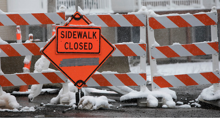 The westbound sidewalk on the East Center Street bridge remains closed for construction, Friday, March 10, 2017.  | Dave Zajac, Record-Journal