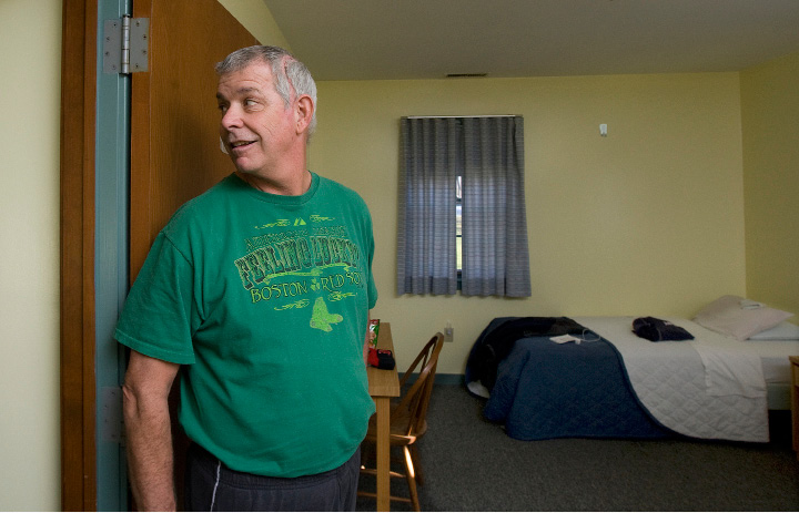 Chris Graham, a patient at Gaylord Hospital in Wallingford, shows his room in the Traurig House, a transitional home for patients with an acquired brain injury, Friday, December 2, 2016. Gaylord Hospital is soliciting donations for renovations to its Traurig House.  | Dave Zajac, Record-Journal