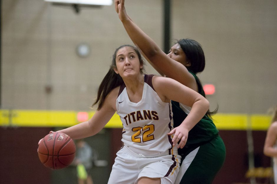 Liv Robles and the Sheehan girls basketball team beat Jonathan Law 54-39 Thursday in the first round of the SCC Tournament. The Titans, seeded No. 8, take on top-seeded Mercy in Saturday's quarterfinals, all of which will be played at Sheehan. | Justin Weekes / Special to the Record-Journal