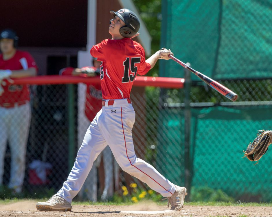 Ryan Strollo hit his first American Legion home run and later drove in the game-winning run with a sacrfice fly in Cheshire's 3-2 Zone 2 victory on Thursday night over Meriden at Cheshire High School. | Record-Journal