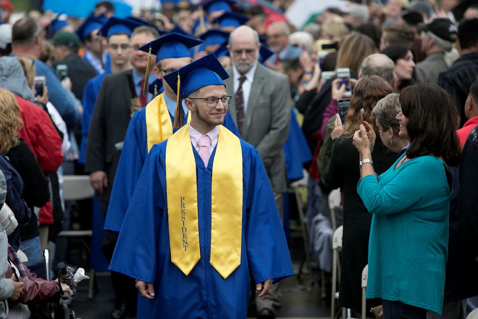 Class President Alec Apuzzo leads the Class of 2017 to graduation ceremonies at Wilcox Technical High School in Meriden, Friday, June 16, 2017. | Dave Zajac, Record-Journal