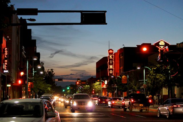 FILE - In this June 21, 2016, file photo, cars make their way along historic Route 66 in downtown Albuquerque, N.M. Albuquerque is one of the cities wooing Amazon to build their second headquarters in their area. However, the city isn
