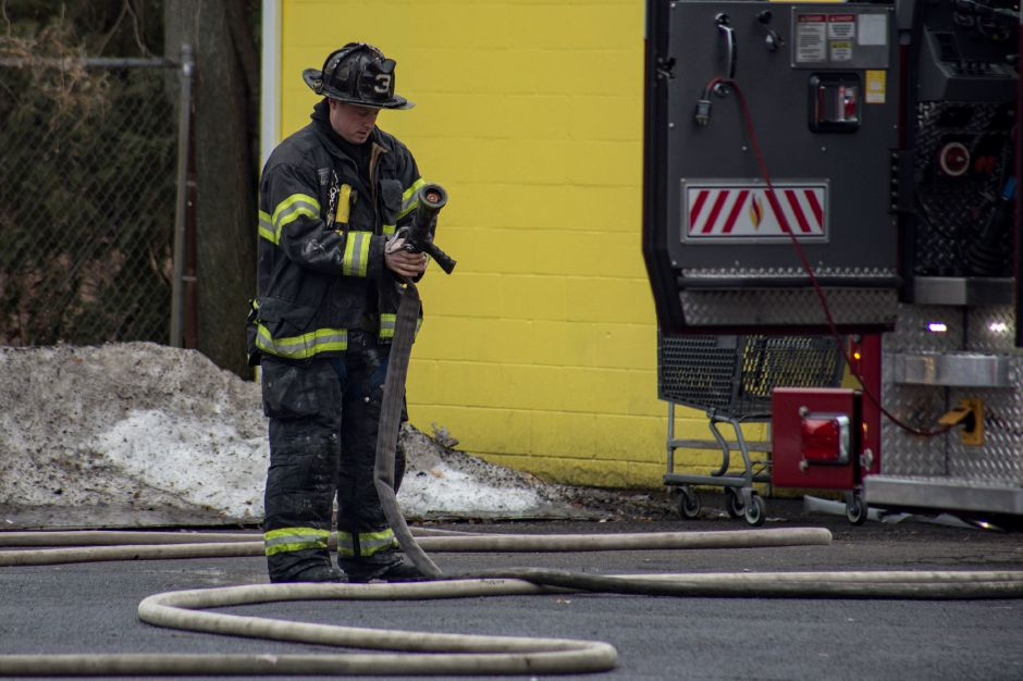 Firefighters responded to a fire at the Banana Brazil restaurant on Hanover Street in Meriden Monday morning Feb. 12, 2018. | Richie Rathsack, Record-Journal staff.