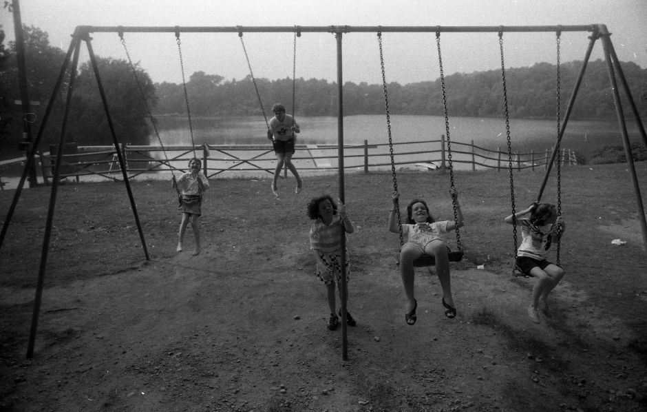 RJ file photo - Irish youths Nicola McLaughlin, Christine Totten, Irene Holmes, Christine Lawlor and Elaine Burns hit the swings at Sloper Day Camp Aug. 4, 1989.