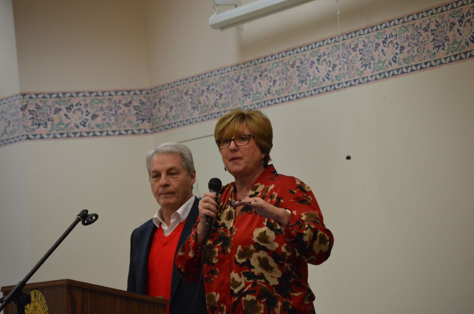 Sen. Len Suzio, R-Meriden, left, and Rep. Cathy Abercrombie, D-Meriden, express their support for the Medicare Savings Program during a December visit to the city