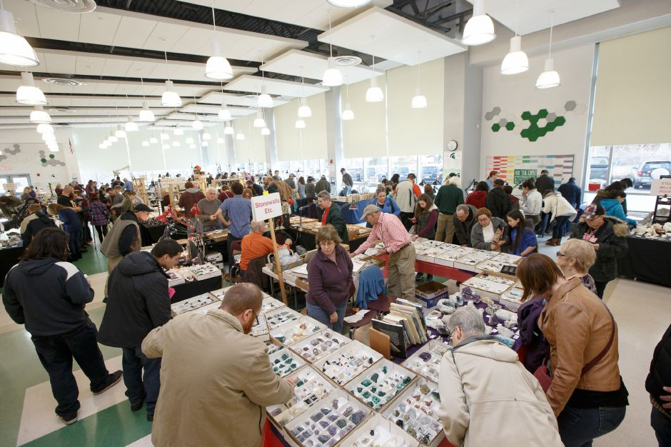 Gem seekers filled the cafeteria Saturday during the 47th Annual Meriden Gem Show sponsored by the Lapidary & Mineral Society of Central Connecticut at Maloney High School in Meriden March 3, 2018 | Justin Weekes / Special to the Record-Journal