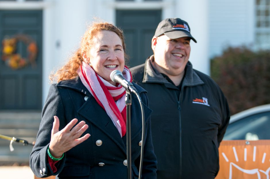 U.S. Rep.  Elizabeth Esty speaks on the Cheshire Green to those who had gathered before  the  Mile of Hope on Saturday.Devin Leith-Yessian