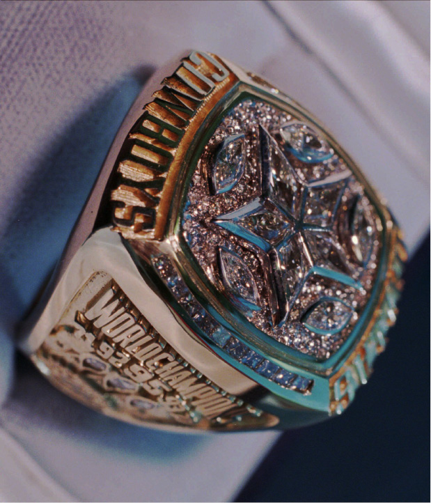 The Dallas Cowboys Super Bowl XXX Championship rings arrived Tuesday, July 16, 1996, and will be distributed during a Tuesday evening ceremony. The Cowboys did not provide details about the ring or reveal its cost.  (AP Photo/Eric Gay)