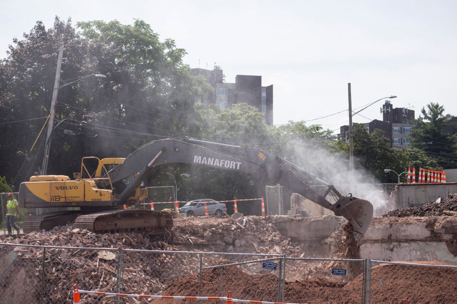 Demolition progresses on the former Record-Journal building in downtown Meriden Aug. 11, 2017. | Richie Rathsack, Record-Journal