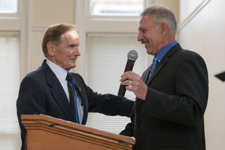 Lt. Lee Van Hennik retired congratulates Chief Robert Kosienski, retired,  during the 41st Annual Meriden Hall of Fame induction ceremony held at the Augusta Curtis Cultural Center in Meriden on Sunday, October 22, 2017. | Justin Weekes, special to the Record-Journal