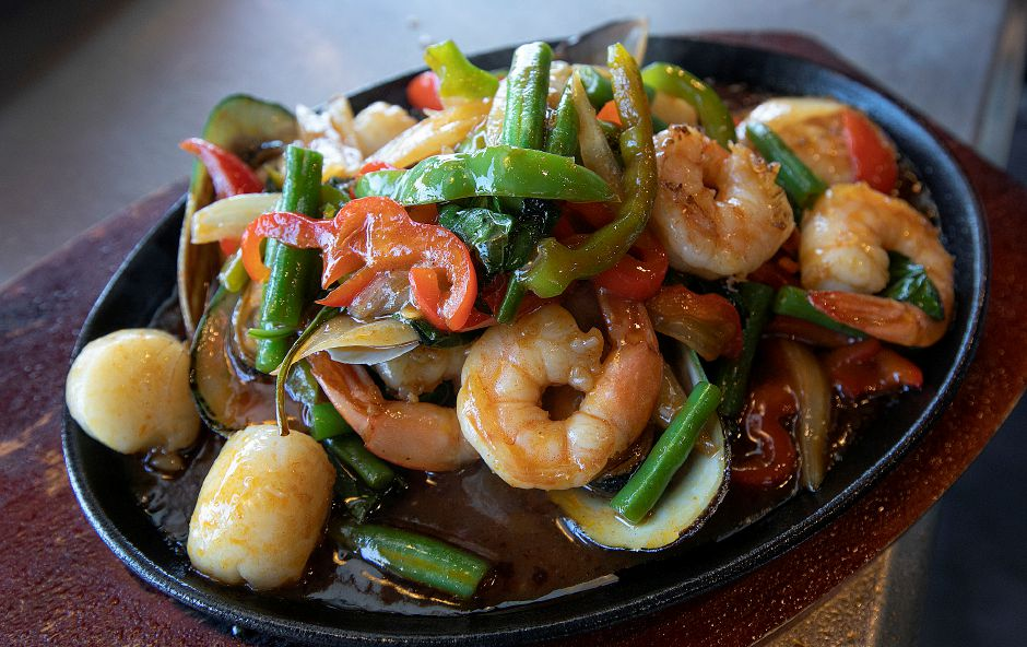 A Sizzling Ocean dish on the menu at Roodle Rice & Noodle Bar, 1263 S. Broad St., Wallingford, Fri., Aug. 2, 2019. Dave Zajac, Record-Journal