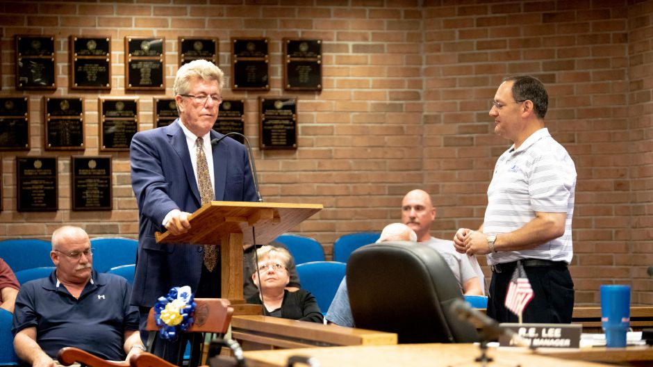 Town Manager Robert Lee speaks at a July 16, 2018 Town Council meeting. | Devin Leith-Yessian/Plainville Citizen