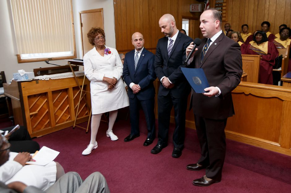 Mayor Kevin Scarpati right read the town decree Sunday during the Combined Ushers Anniversary at Parker Memorial AME Zion Church in Meriden. Ushers were honored from across the state. March 4, 2018 | Justin Weekes / Special to the Record-Journal