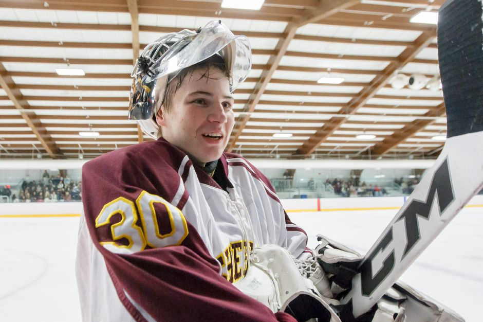 Sheehan goaltender Tyler Robertson was among the 2017-18 winter All-Conference area players announced by the Southern Connecticut Conference. | Justin Weekes / Special to the Record-Journal