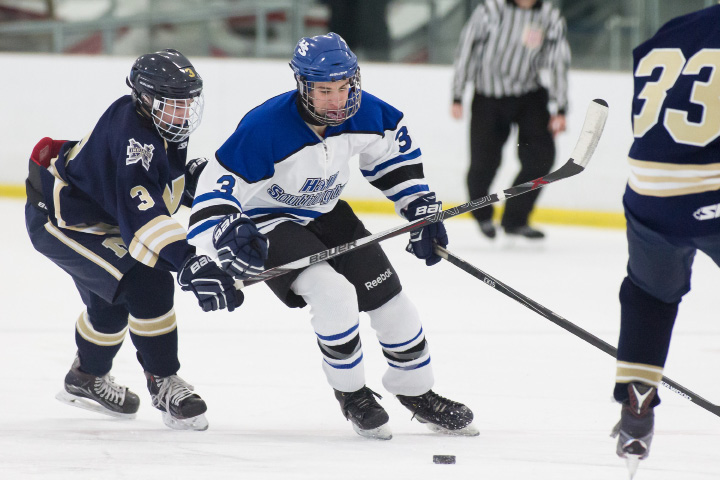 Jeremy Fortin, a senior captain from Southington, leads the Warrior-Knights into tonight's first CIAC Division III semifinal at Ingalls Rink. Sixth-seeded Hall-Southington faces CCC rival and second-seeded Wethersfield-Middletown-Rocky Hill-Plainville at 5:30 p.m. | Justin Weekes, Special to the Record-Journal