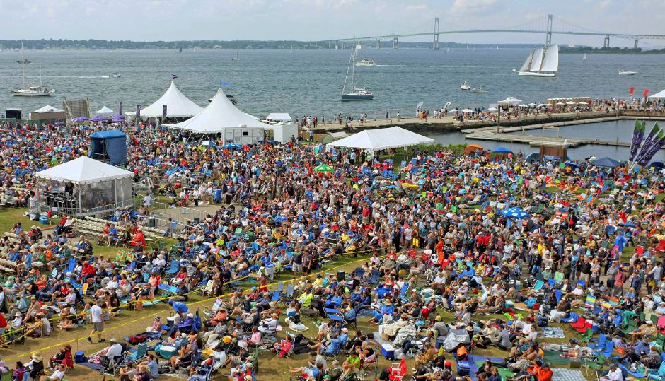 In this Aug. 2, 2013 file photo, music fans fill the grounds of Fort Adams State Park on Narragansett Bay for the Newport Jazz Festival in Newport, R.I. (AP Photo/Joe Giblin, File)