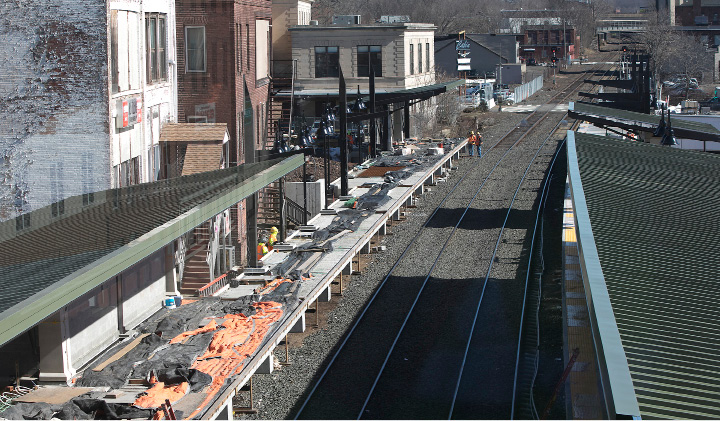 View looking north from the bridge of the new train station in downtown Meriden, Thursday, March 30, 2017.  | Dave Zajac, Record-Journal