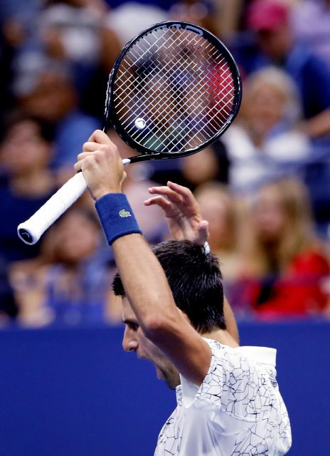 Novak Djokovic, of Serbia, reacts after winning a game against Kei Nishikori, of Japan, during the semifinals of the U.S. Open tennis tournament, Friday, Sept. 7, 2018, in New York. (AP Photo/Adam Hunger)