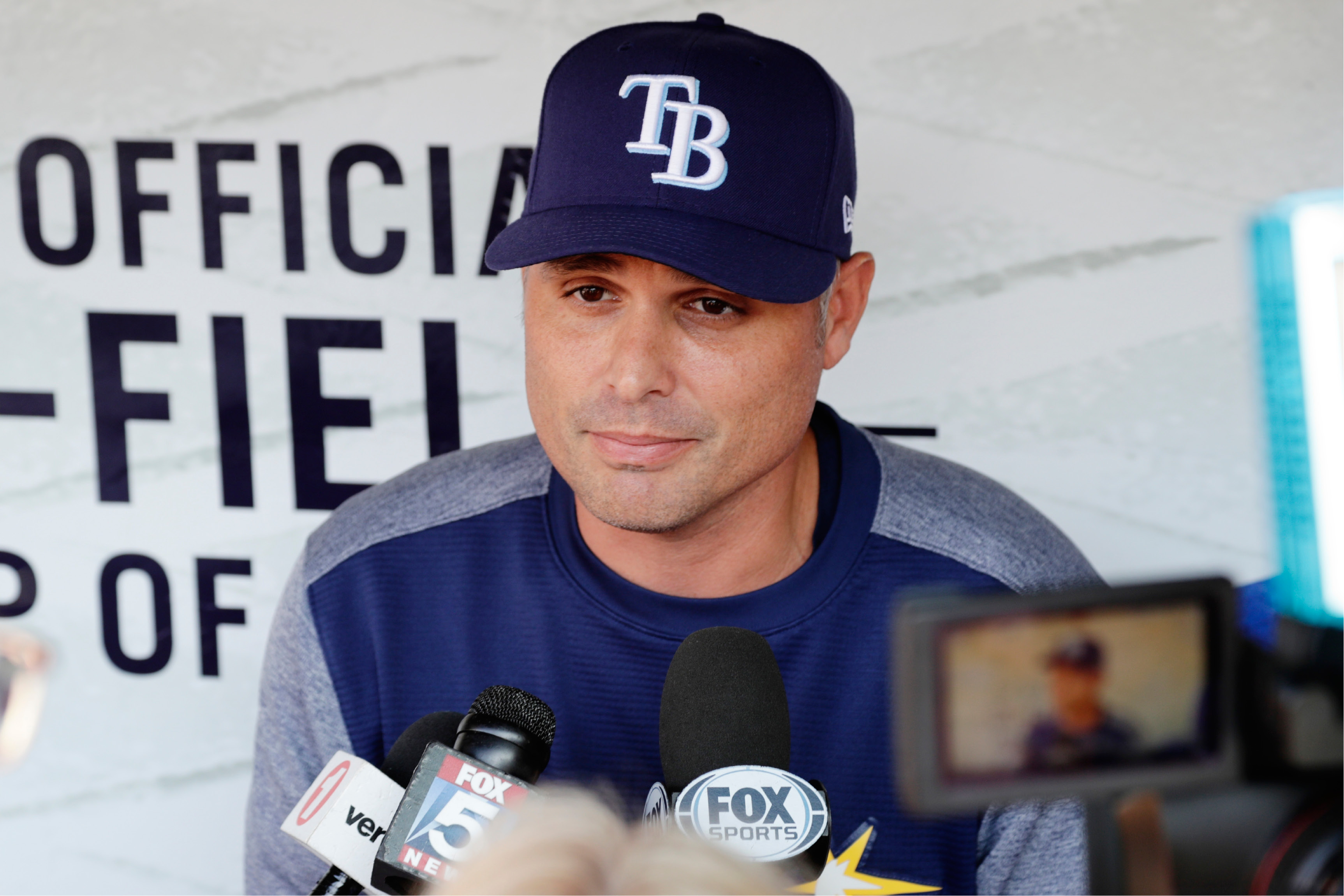 Tampa Bay Rays manager Kevin Cash responds to questions from the media at Citi Field before a baseball game against the New York Yankees, Monday, Sept. 11, 2017, in New York. The Yankees will be the visiting team for the series moved from St. Petersburg, Florida, because of Hurricane Irma. (AP Photo/Frank Franklin II)