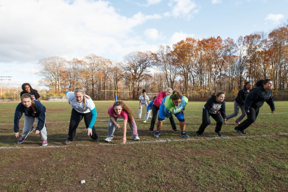 Friday during Powder Puff practice at Wilcox Tech in Meriden Nov 14, 2014 | Justin Weekes / For the Record-Journal