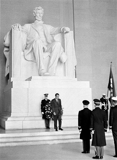 FILE - In this Feb. 12, 1969, file photo U.S. President Richard Nixon turns to leave after placing a wreath at the statue of Abraham Lincoln on the birthday of the Civil War president. The National Archives on Thursday, Nov. 10, 2011, released a batch of Nixon-era records that include audio of the former president