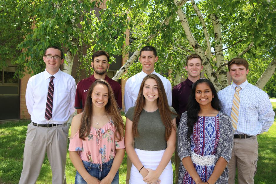 Introducing Sheehan's Record-Journal Scholar-Athletes for the 2019 spring season. Rayna Esch, Meghan Murphy and Shreya Patel are the girls in front, left to right. The gentlemen, from left to right, are Dylan Poet, Julian Nirmal, Mark Amodio, Adam Shoshani and Adam Leone. Missing is Samantha Hart. On photo day she was with her older brother Zach in Cleveland. He had just been drafted by the Indians. Record-Journal staff