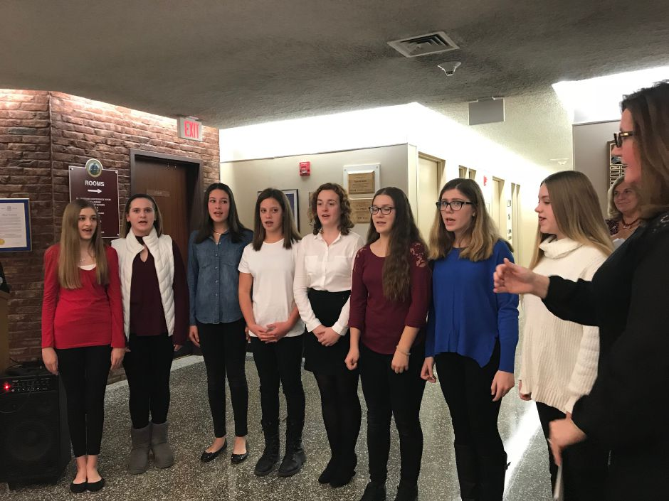 The McGee Middle School Spartan Singers at the swearing-in ceremony at Town Hall, Tuesday, Nov.21 |Ashley Kus, The Citizen