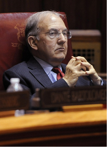 FILE - In this Dec. 8, 2015 file photo, Senate President Martin Looney listens during a special session at the state Capitol in Hartford, Conn. Looney has said New Haven Superior Court Judge Brian Fischer