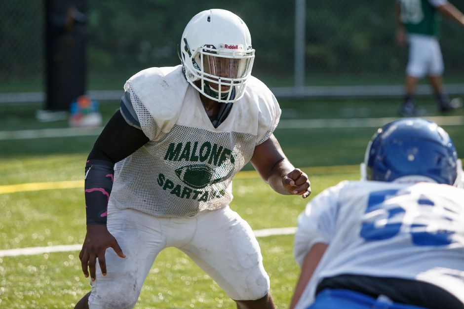 Junior Elijah Stevenson will be one of the focal points of the Maloney defense at middle linebacker. He'll also see time on offense at fullback and tight end. Photos by Justin Weekes, Special to the Record-Journal