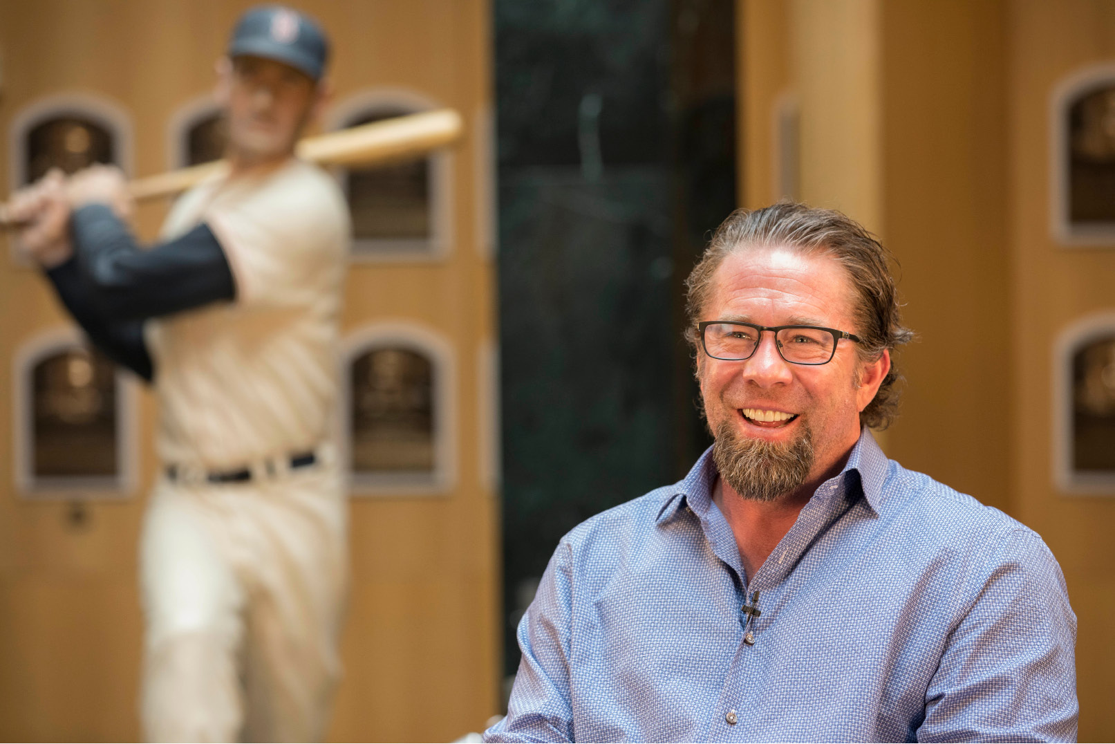 In this photo provided by the National Baseball Hall of Fame and Museum, Jeff Bagwell tours the National Baseball Hall of Fame and Museum in Cooperstown, N.Y., Tuesday, March 28, 2017. Bagwell will be inducted into the Baseball Hall of Fame in July 2017. (Milo Stewart Jr./National Baseball Hall of Fame via AP)