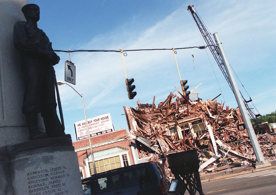 RJ file photo - The Martorelli Building on Broad Street is teh latest venerable city structure to face the wrecking ball, falling as site preparation for the new Stop & Shop continues May 11, 1999.