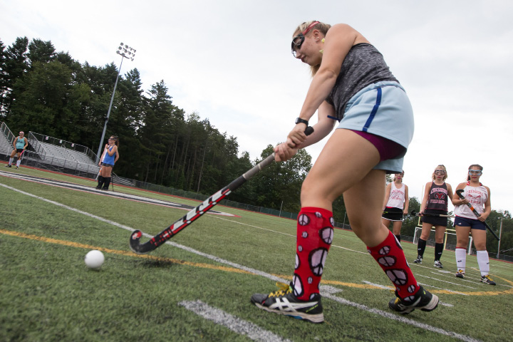 Mia Pulisciano got Cheshire on the board Friday in Madison against Daniel Hand. The two SCC field hockey rivals went back and forth until the Tigers notched a 4-3 win five minutes into overtime.. | Justin Weekes / For the Record-Journal
