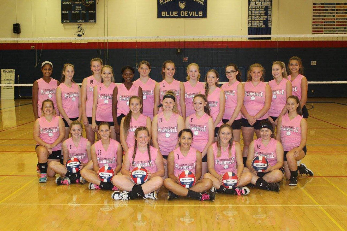 "The Plainville High School girls volleyball team collected more than $1,500 to fight breast cancer and support research through the SideOut Foundation, at the recent ""Dig Pink Night."""