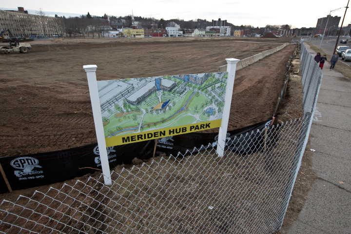 The Hub Reuse Committee at city hall is looking into a new name for the park coming to  the HUB in Meriden, Jan. 20, 2014. |  Christopher Zajac / Record-Journal