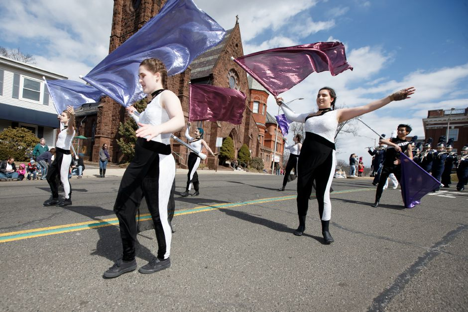Platt High School Marching Band color guard Saturday during the 45th Annual St. Patrick