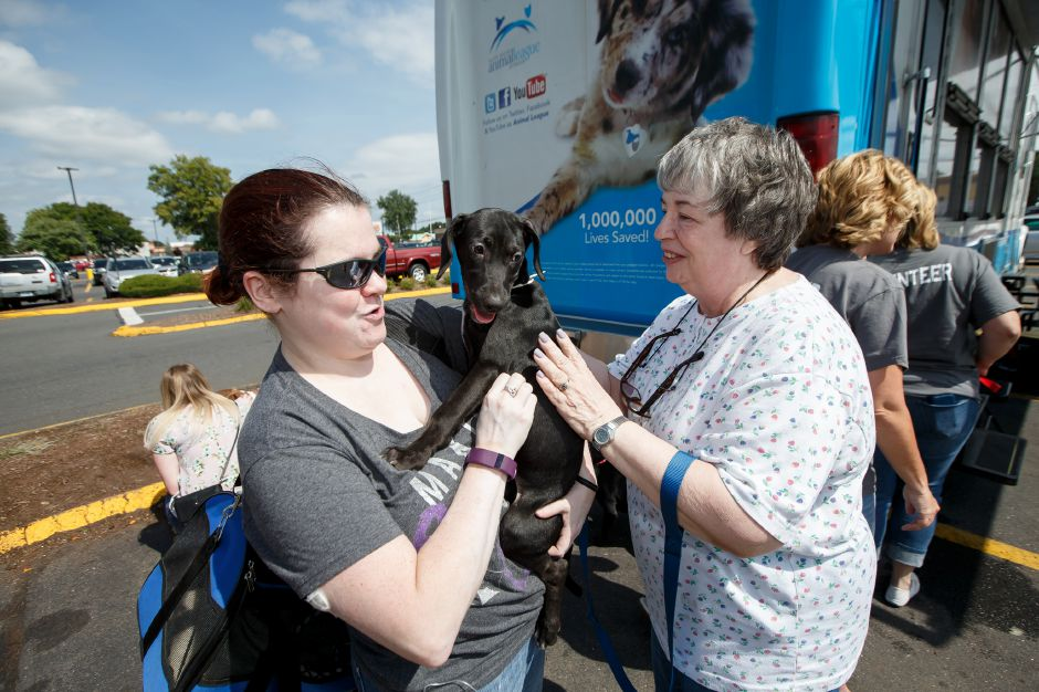 "Kate Kelly of Watertown left and her mom Lynn take home ""Cleo"" a 13 week old Lab Hound mix Sunday during Companion Pet Rescue adoption at Petco in Southington September 2, 2018 