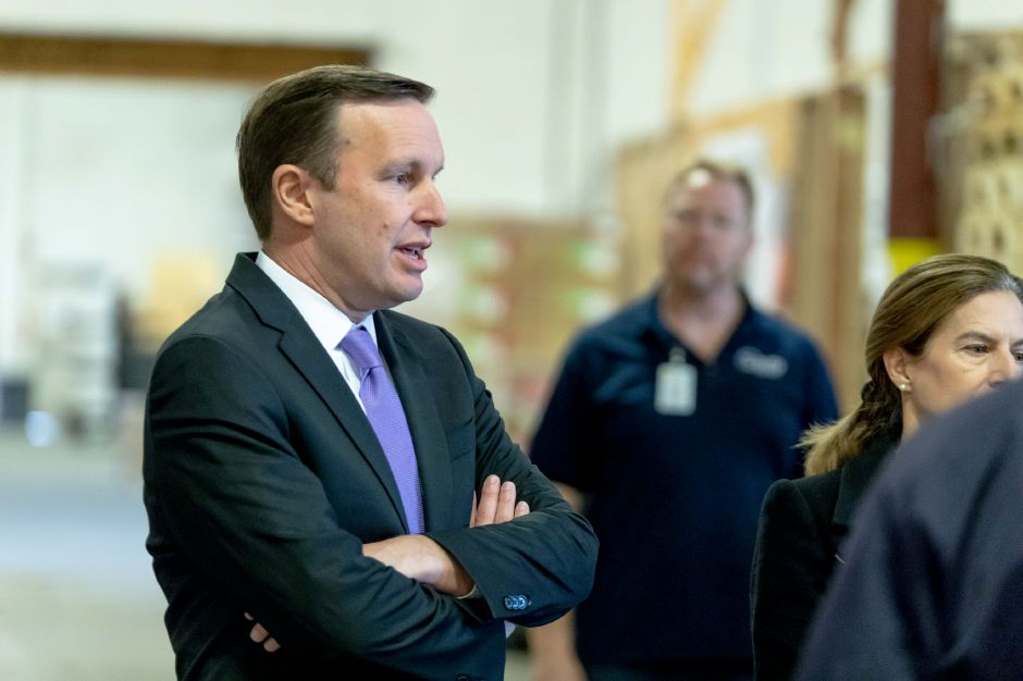 Democratic Senator Chris Murphy speaks during a tour of Trinity Solar in Cheshire. Murphy joined Gubernatorial candidate Ned Lamont and Lt. Gov. candidate Susan Bysiewicz in the tour on Oct. 25, 2018.