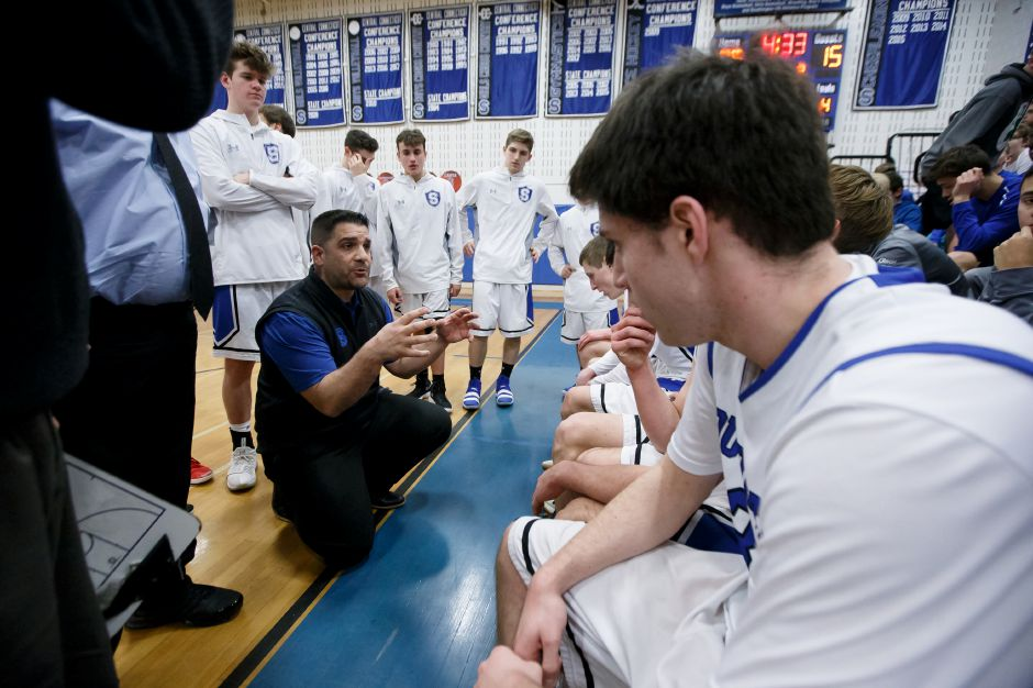 The 2017-18 season came to a close for coach John Cessario and his Southington Blue Knights with an 80-70 loss to Waterford on Saturday night in the CIAC Division III boys basketball tournament quarterfinals. | Justin Weekes / Special to the Record-Journal