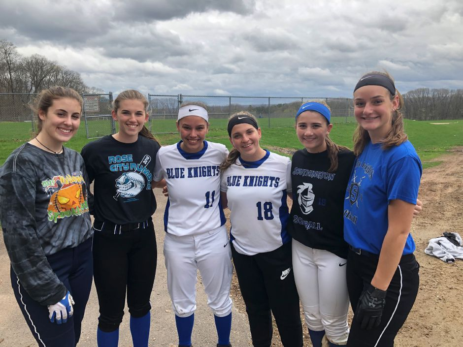 In a sport often dominated by a single ace, Southington softball coach Davina Hernandez deploys a fleet of six pitchers. They are, from left, Dominique Gaudio, Samantha Sullivan, Katelyn Lipsky, Julia Panarella, Kelsey Fernandez and Julia Theriault.Sean Krofssik, Record-Journal