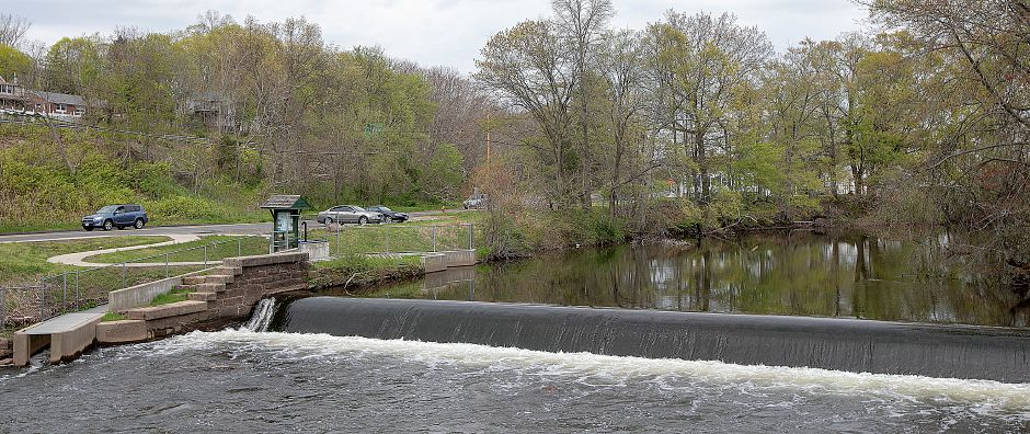 Wallace Dam in Wallingford, Thurs., May 2, 2019. Since the installation of the Haakonsen Fishway, bottom left, fish populations using the fishway have not risen but Department of Energy and Environmental Protection officials hope it will rise in the next few years. Dave Zajac, Record-Journal