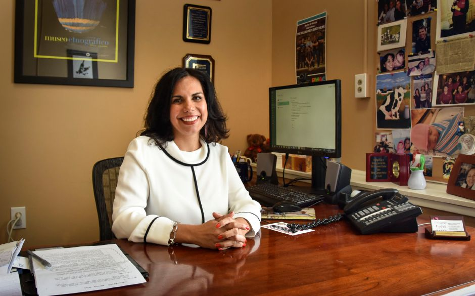 Maria Campos Harlow at her office at the Spanish Community of Wallingford on Monday, May 14, 2018. Campos Harlow was named the name execuive director of the United Way of Meriden and Wallingford. | Bailey Wright, Record-Journal