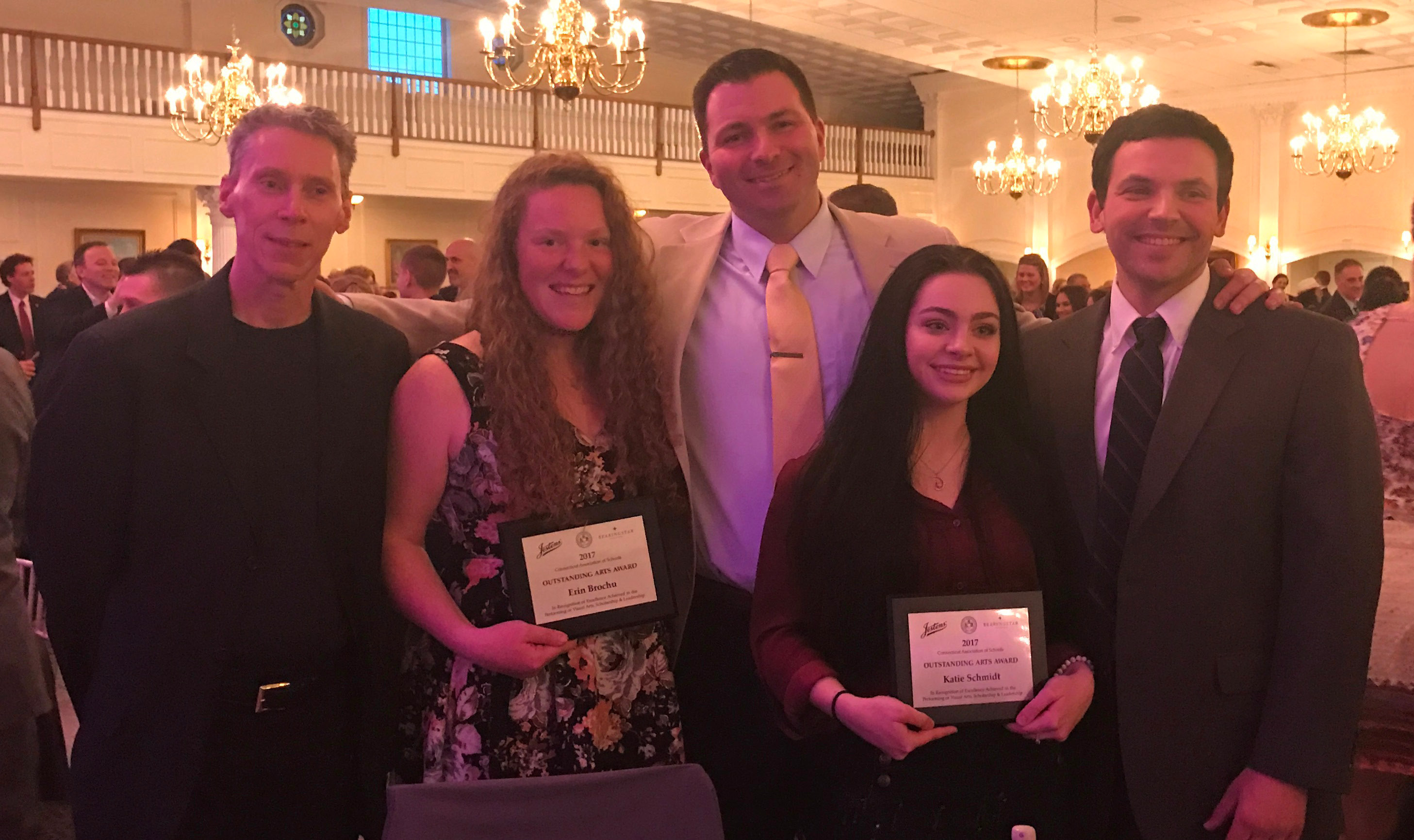 From left: Plainville High School music instructor Jeff Blanchette, Erin Brochu, Plainville High School Principal Roberto Medic, Katie Schmidt and Plainville High School Art Instructor Mario Pires.