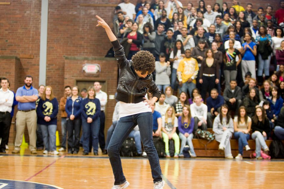 Vanessa Rodriguez, a sophomore, performs as Michael Jackson during the Platt H.S. pep rally in Meriden on Wednesday, Nov. 25, 2009. Each class performed to one of Michael Jacksons songs to raise spirit for the Platt football team
