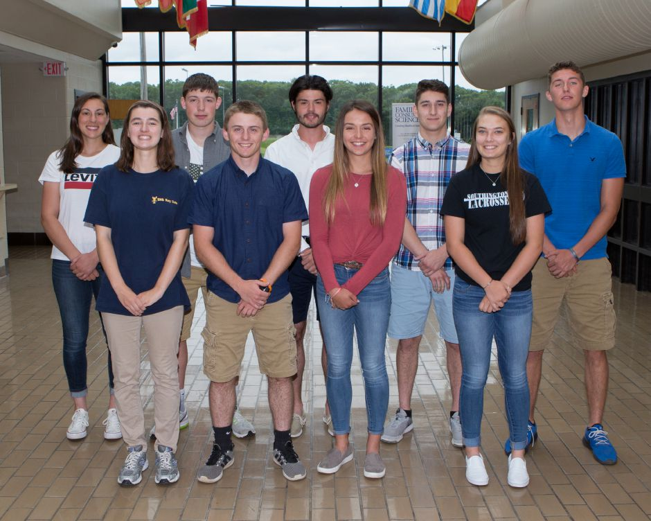Here are Southington High School's Record-Journal Scholar-Athletes for the spring 2018 season. In front, from left to right, are Carolyn Callahan, Dan Topper, Abigail Connolly and Stephanie Zera. In the back, left to right, are Kara Zazzaro, Brett Wolff, Kevin Chudy and William Pfanzelt and Jack Herms. Justin Weekes, Special to the Record-Journal