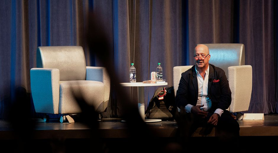 "Author Andrew Zimmern takes questions from Meriden students after a talk at Platt High School, Wed., May 15, 2019. Zimmern is the globe-trotting host of the ""Bizarre Foods"" TV show. Dave Zajac, Record-Journal"